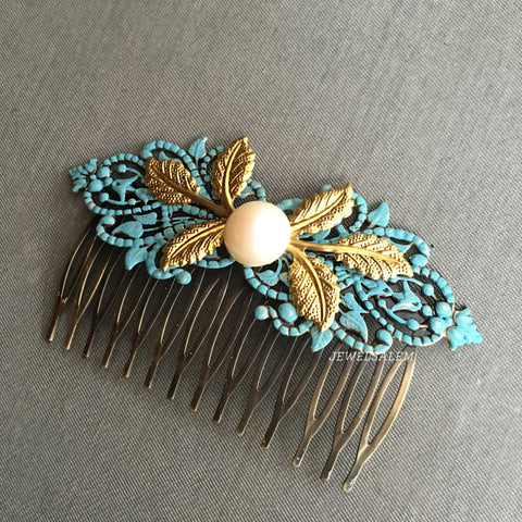 aqua hair comb with pearl and gold leaves, affordable beautiful wedding accessories