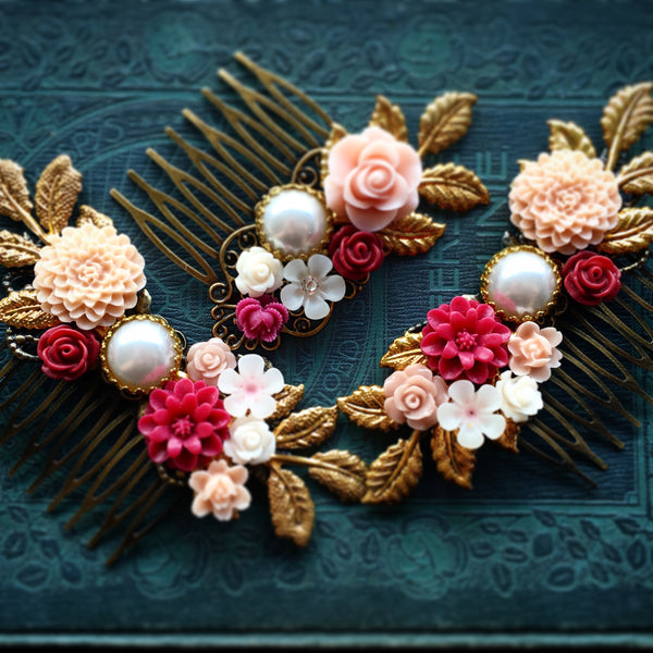 customised wedding hair comb floral hair accessories for brides bespoke bridesmaids gift