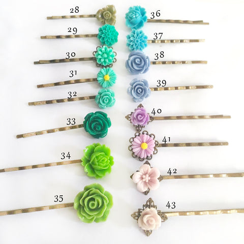 flower bobby pins for weddings, bridesmaid gift flower girl hair pins