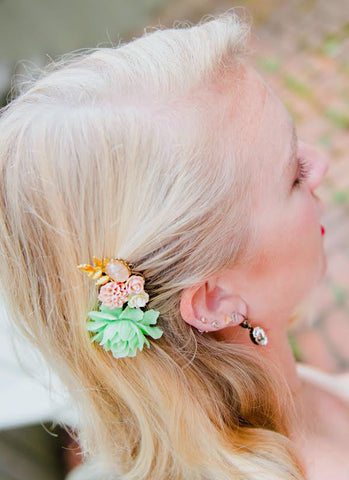 summer wedding hair comb for brides
