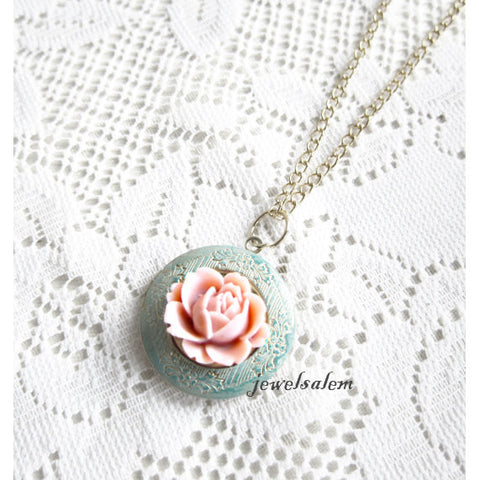 flower locket sterling silver bridesmaid locket gift