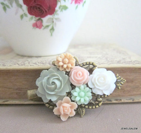 pastel colored hair clip with flowers for wedding