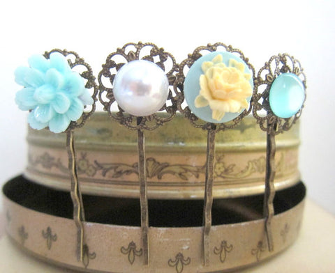 baby blue hair pins for wedding