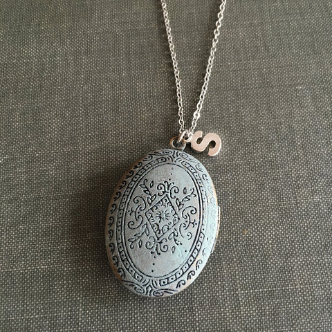 antique silver locket patina floral carving personalised initial