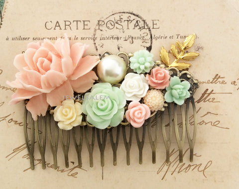 pastel pink peach soft mint flower hair comb gold leaf ivory pearl