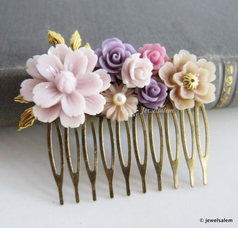 romantic lilac lavender and pastel pink bridal comb