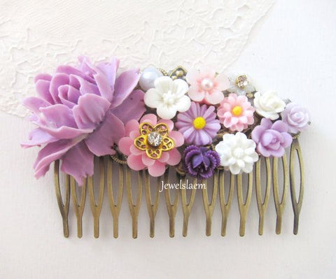 purple rose and pink flower hair comb