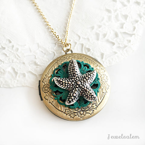starfish locket necklace