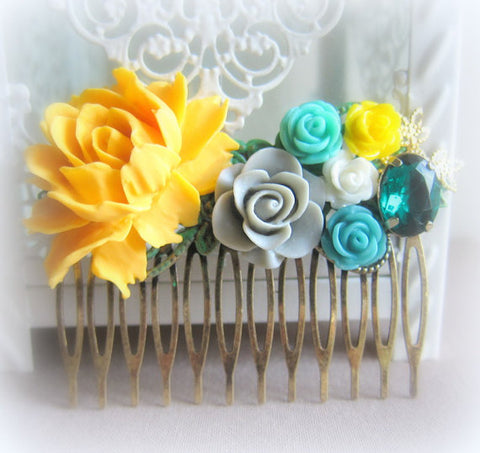 yellow emerald turquoise hair comb