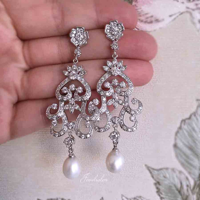 Ashley - Freshwater Pearl Rhinestone Bridal Earrings