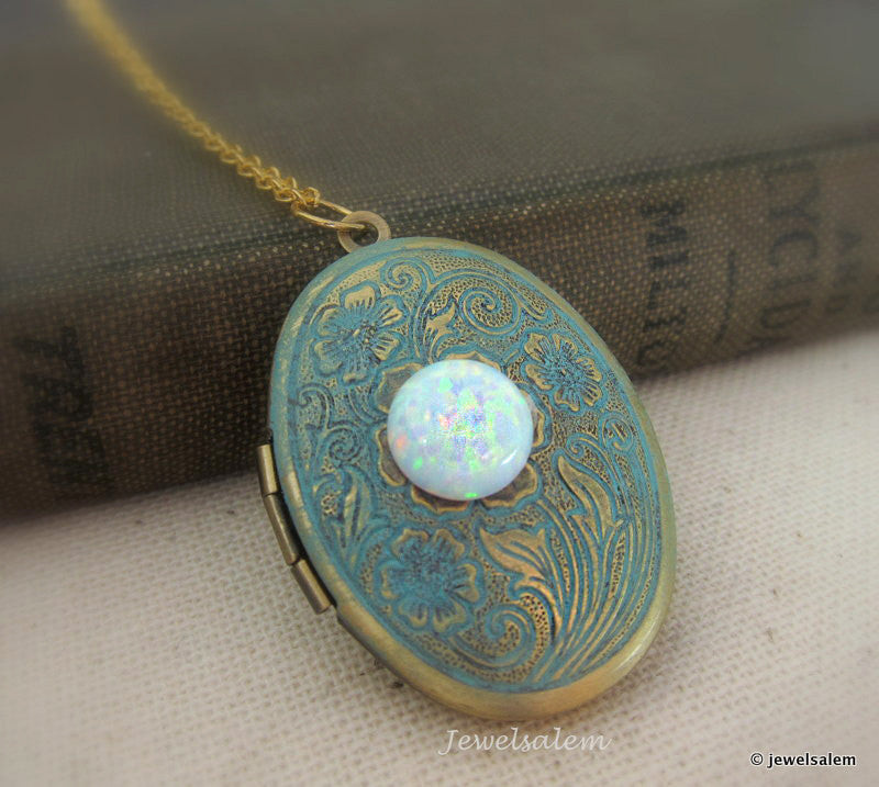 Opal Locket Necklace White Opal Necklace Photo Locket Fire Opal Locket Vintage Style Shabby Chic Victorian Aqua Teal Blue Locket Gift - Jewelsalem