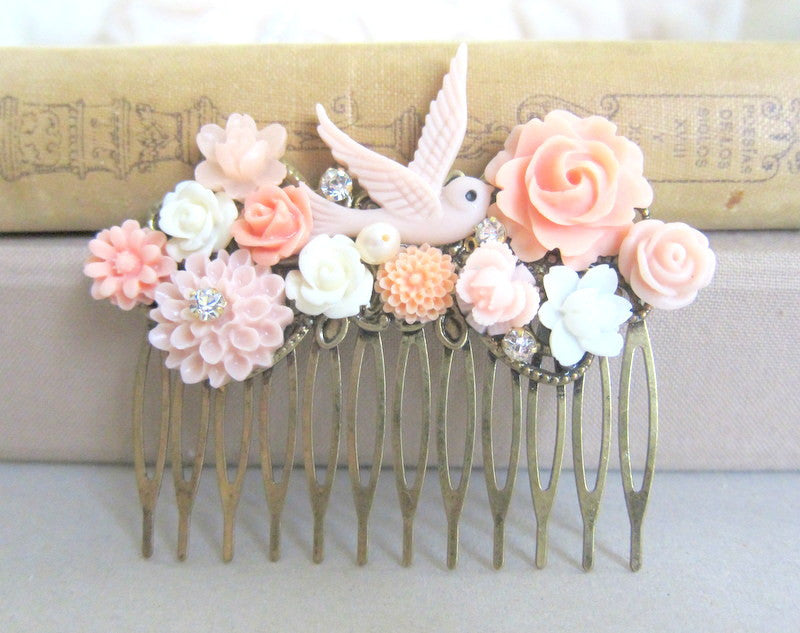 Peach Pink Wedding Hair Comb Set Bridal Headpiece Romantic Flower Hair Slide Coral Wedding Comb for Bride Floral Hair Accessories - Jewelsalem