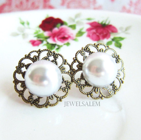 Marie - Pearl Earrings - Jewelsalem