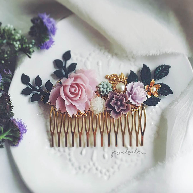 Alyssum - Lilac Vintage Wedding Gold Hair Comb