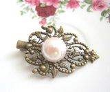White Pearl Hair Clip Bridal Ivory Hair Clip Vintage Wedding Bridesmaids Hair Pin Headpiece for Bride Shabby Chic Modern Victorian Hair Accessories - Jewelsalem