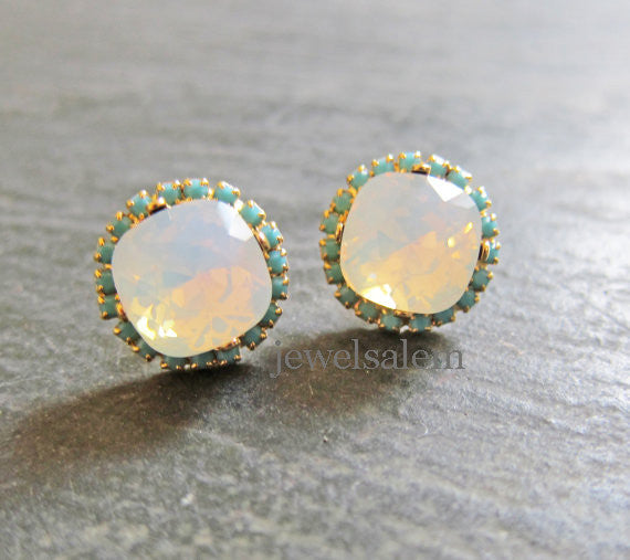 Delovely - White Opal Earrings Swarovski Crystal Wedding Jewellery - Jewelsalem