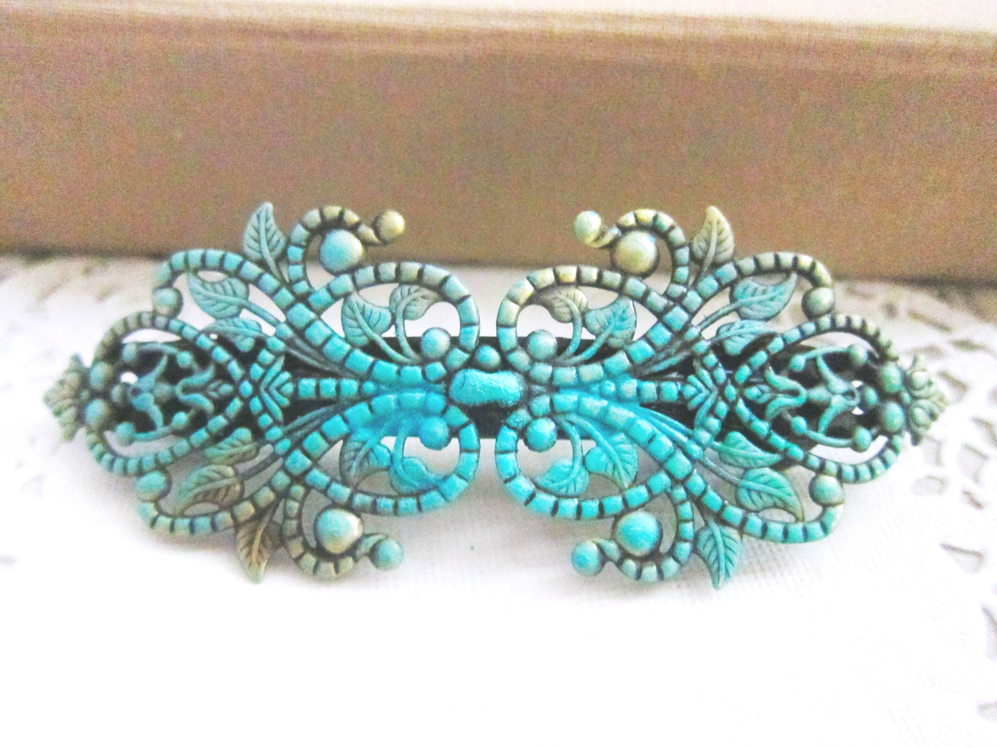 Hair Barrette Vintage Style Teal Turquoise Aqua Blue Rustic The Great Gatsby Victorian Spanish Style Hair Accessories Film Noir Girly Bohemian - Jewelsalem