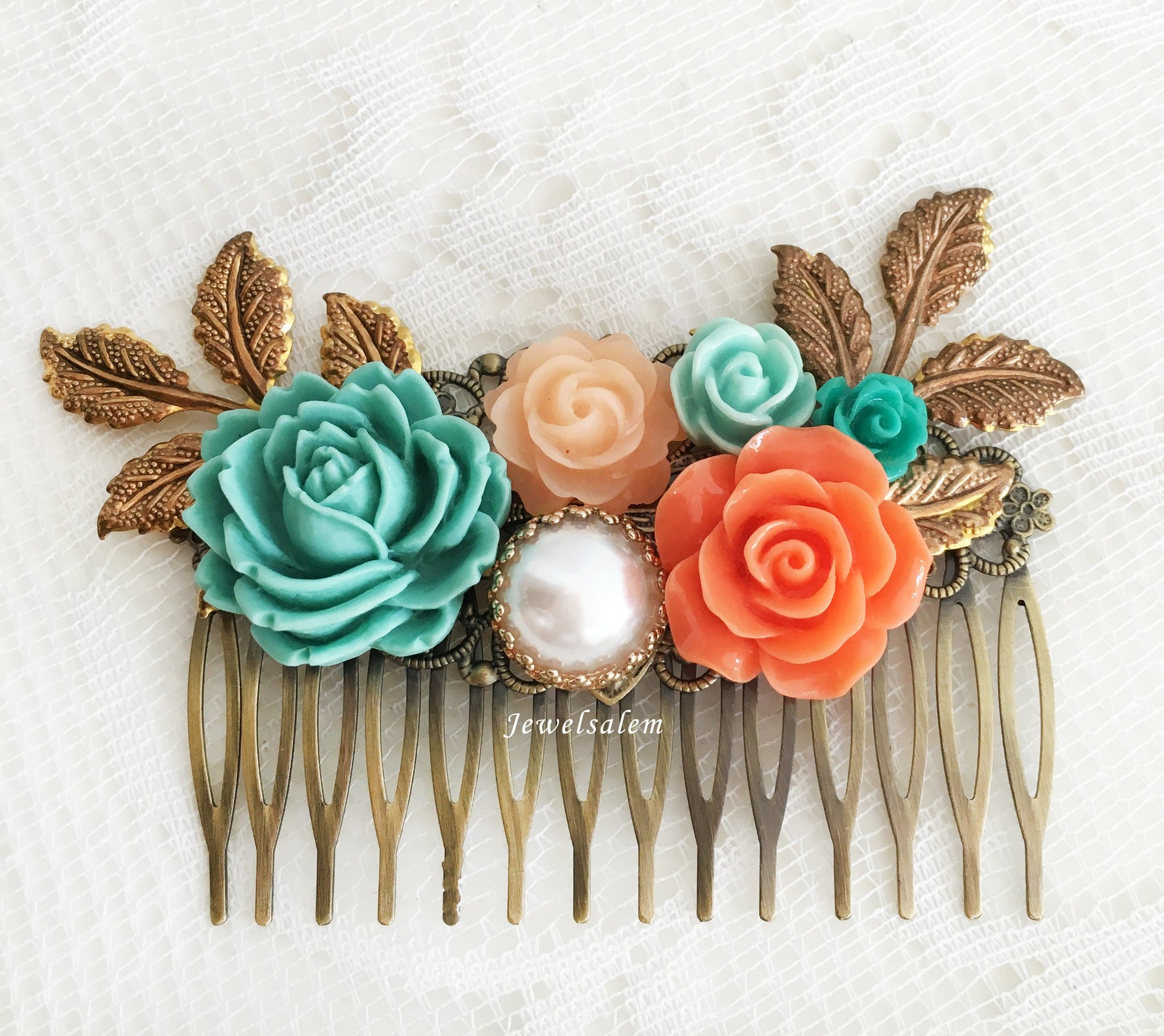 Turquoise Coral Peach Orange Teal Bridal Hair Comb Vintage Romantic Wedding Hair Accessories - Jewelsalem
