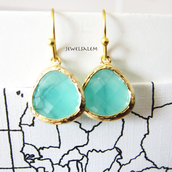 Aqua Gold Earrings for Bride, Seafoam Wedding, Teal Green Bridal Jewelry, Bridesmaid Earrings, Gift for Her, Modern Jewellery - Jewelsalem