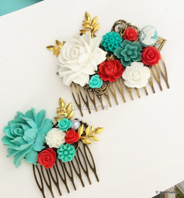 Aqua Red Wedding Comb Flower Collage Hair Slide for Bride Bridal Hair Accessories - Jewelsalem