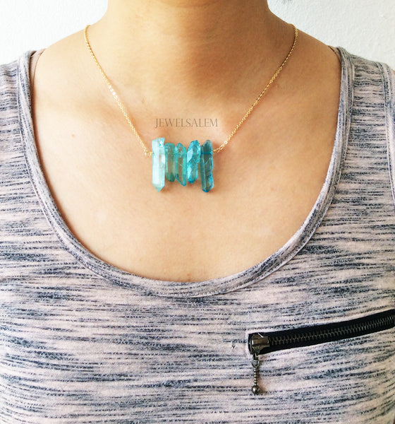 Turquoise Quartz  Blue Gemstone Necklace Aqua Ombre Mint Green Gold Silver Chain Wire Wrapped Raw Crystal Ice Berg Arrow Clear Stone Gift C1 - Jewelsalem