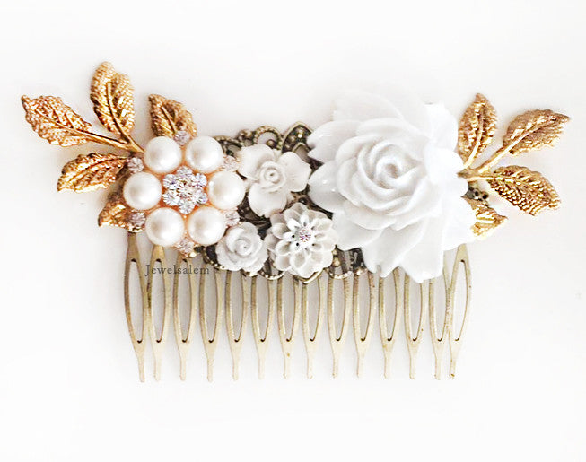 Elegant Art Deco Wedding Hair Comb Bridal Hair Clip - Jewelsalem