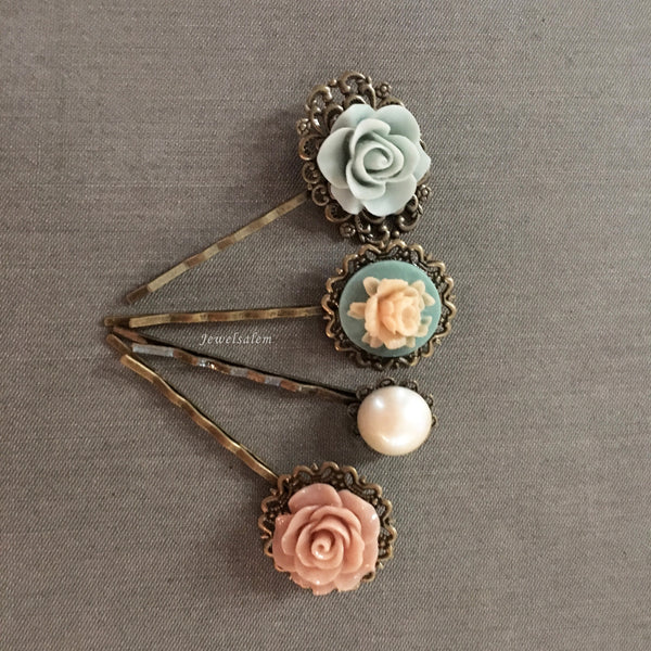 Vintage Wedding Flower Pearl Hair Pins Romantic Bobby Pins Bridal Hair Accessories - Jewelsalem