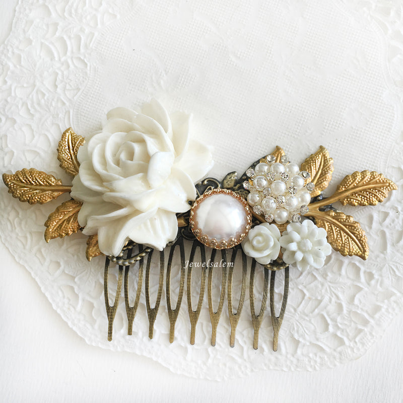 Beautiful White Wedding Hair Comb Vintage Style Bridal Flower Hair Slide with Gold Leaves Romantic Victorian Headpiece Hair Adornment - Jewelsalem