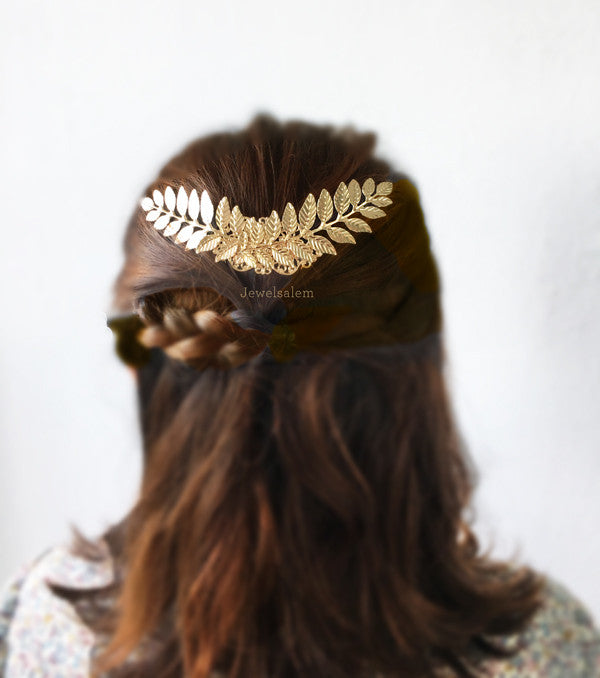 Large Gold Leaf Hair Comb Big Gold Leaf Wedding Hair Comb Romantic Hair Slide Rustic Wedding Hair Accessories for Bride - Jewelsalem