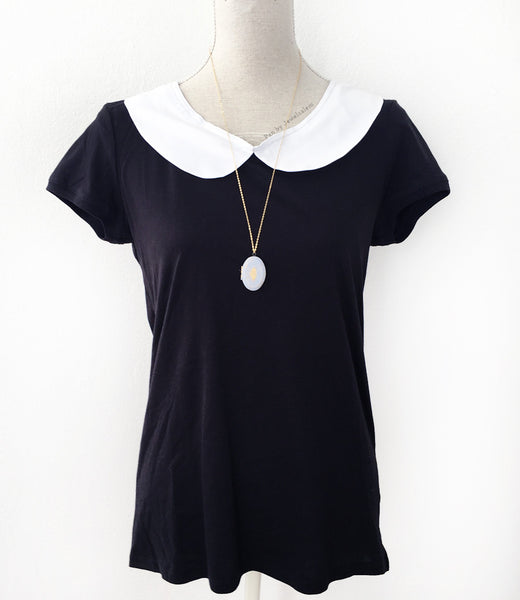 White Peter Pan Collar T-Shirt - Coco et Montmartre - Jewelsalem