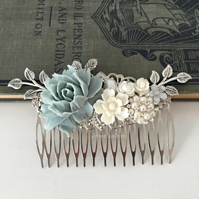 Lydia - Sterling Blue Mercury Wedding Bridal Hair Comb - Jewelsalem