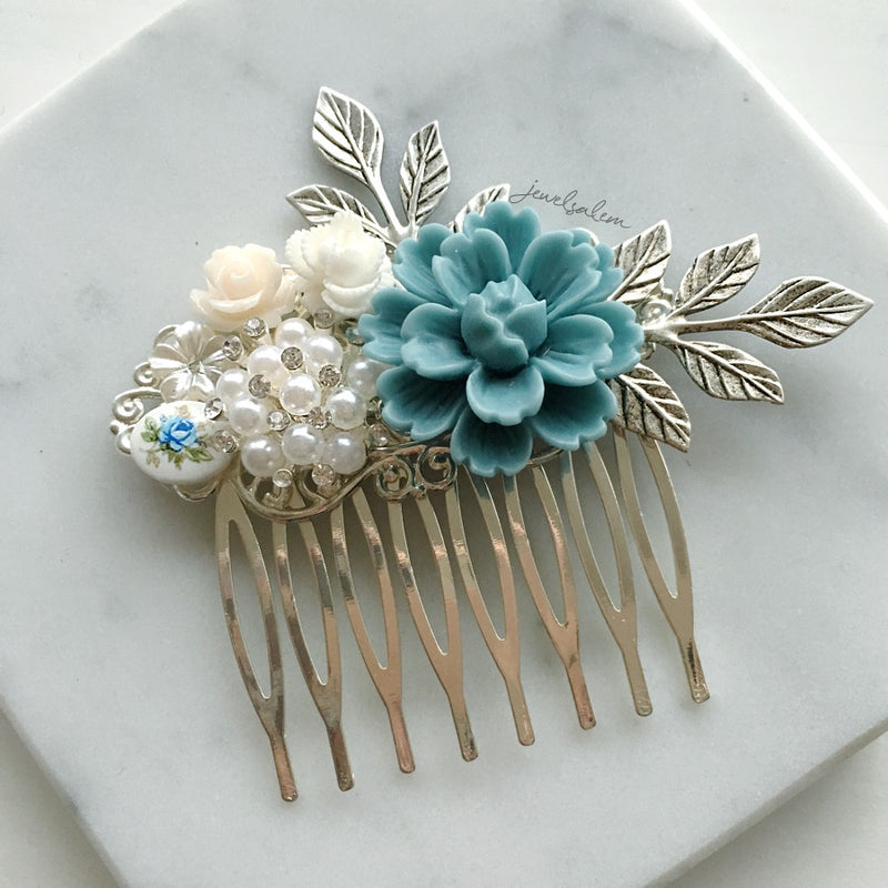 Robin - Blue Wedding Hair Comb