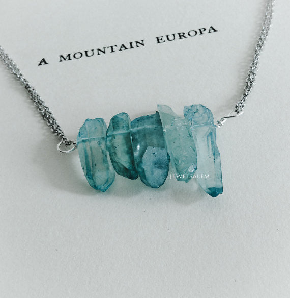 Ice Berg Necklace Turquoise Quartz Necklace Silver Wire Wrapped Ombre Blue Gemstone Arrow Clear Stone Birthstone Gift Raw Crystal Mineral Modern - Jewelsalem