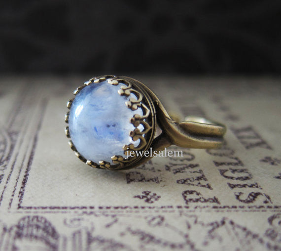 Moonstone Ring Opal Ring Rainbow Blue White Translucent Exotic Gemstone Ring Bohemian Jewelry BFFs Best Friends Ring Friendship Mother Girlfriend Gift - Jewelsalem