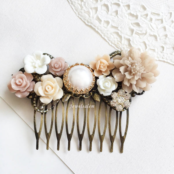 Blush Pink Bridal Hair Slide Elegant Wedding Hair Comb Pastel Pink Romantic Whimsical Flower Hair Adornment - Jewelsalem