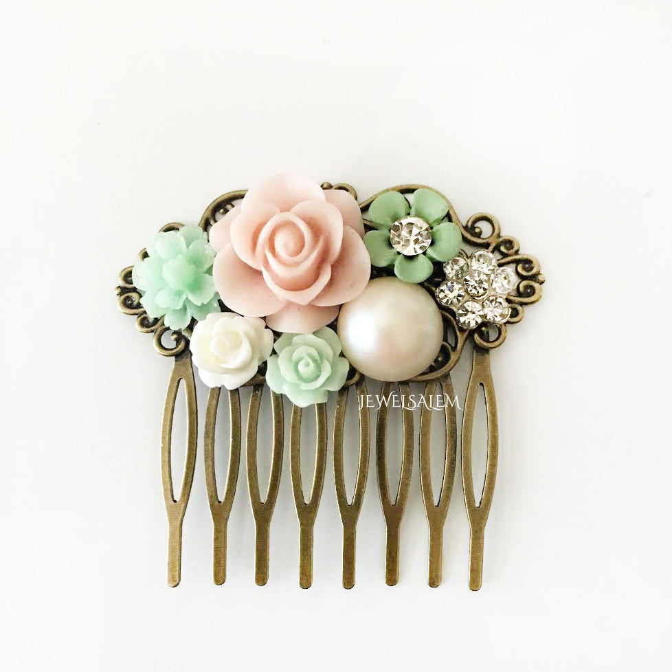 Blush Wedding Headpiece Flower Hair Comb Bridal Hair Slide Romantic Rustic Garden Wedding - Jewelsalem