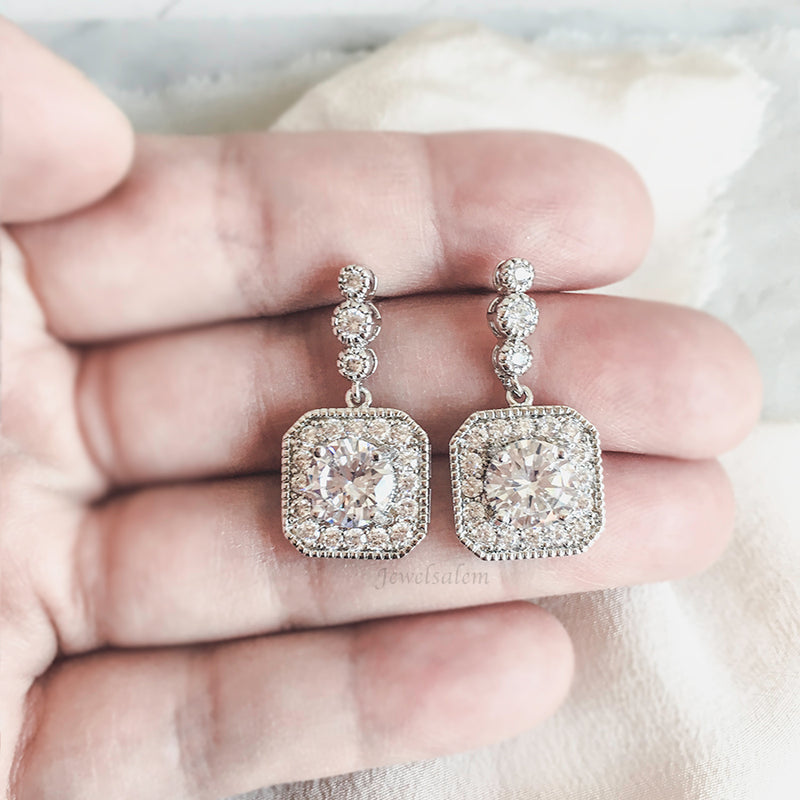 Ashley - Art Deco Pave Cushion Cut Cubic Zirconia Bridal Earrings