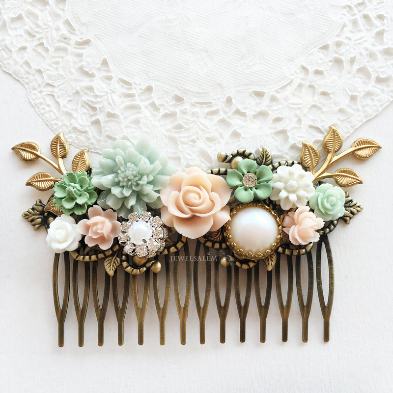 Minty Green Blush Pink Wedding Comb - Jewelsalem