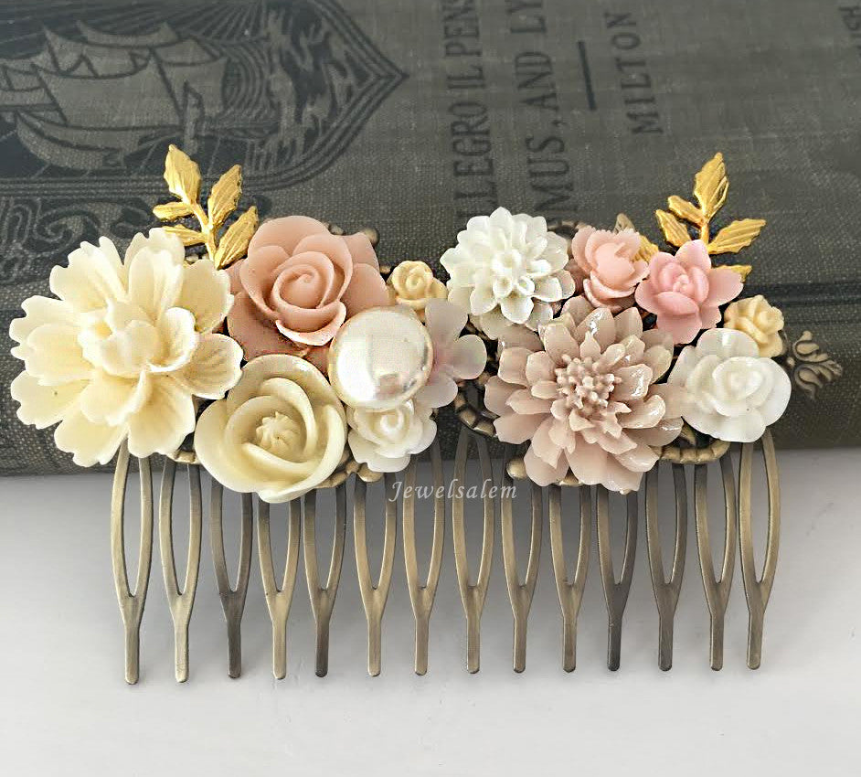 Blush Wedding Hair Comb Beautiful Elegant Bridal Hair Accessories Vintage Hair Adornment for Bride Victorian Style Pink Ivory Wedding Colors - Jewelsalem
