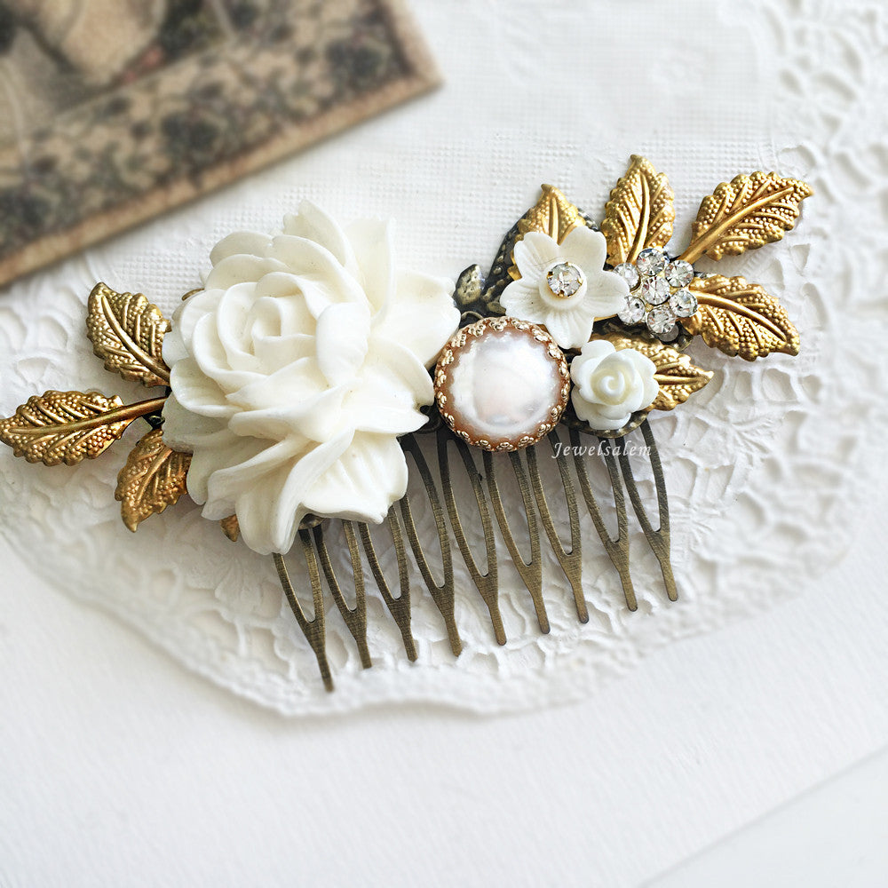 Wedding Hair Comb Bridal Hair Accessories Modern Victorian Headpiece White Flowers Hair Adornment Chintz Glamorous Pearl Hair Pin - Jewelsalem