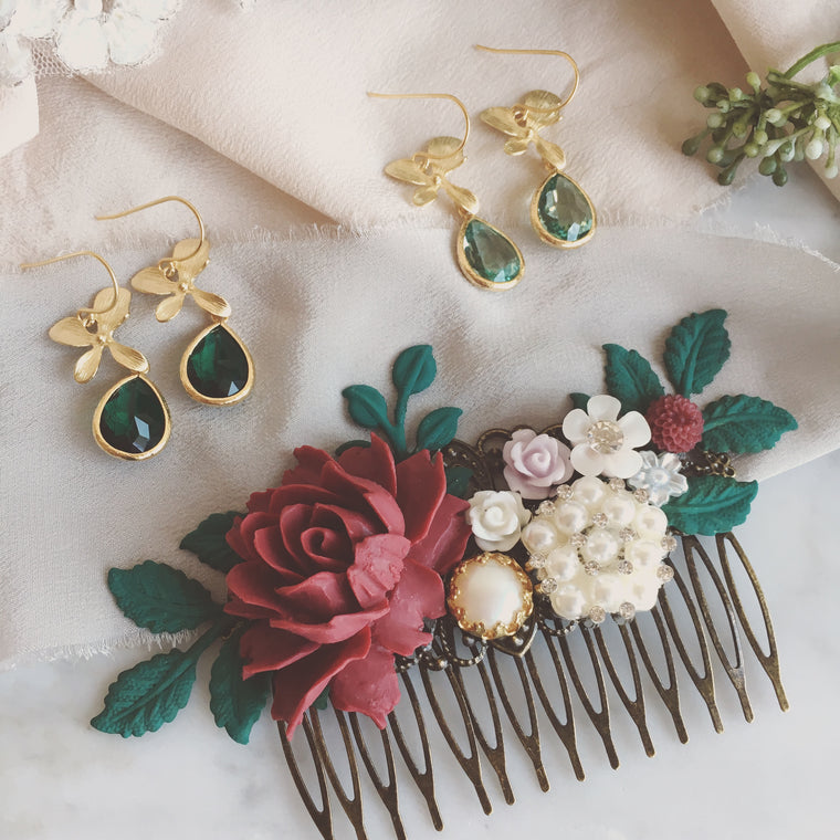 Alyssum - Burgundy Wine Red Pink and Dark Pine Green Wedding Hair Comb