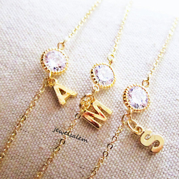 Alexis - Diamante Initial Necklace