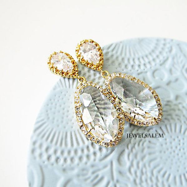 Alexis - Gold Cubic Zirconia Bridal Earrings