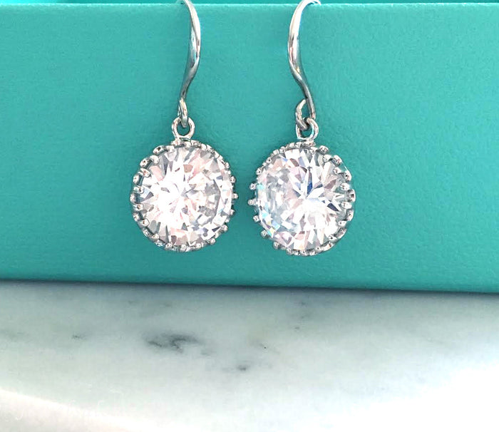 bridal earrings, silver crystal earrings - Jewelsalem