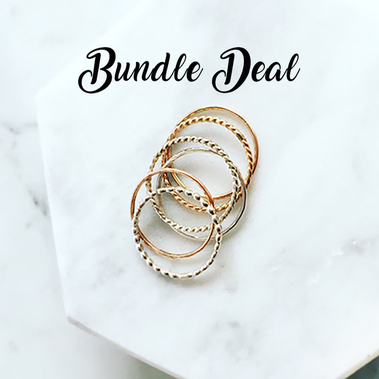 Rose Gold Filled & Sterling Silver Stacking Rings