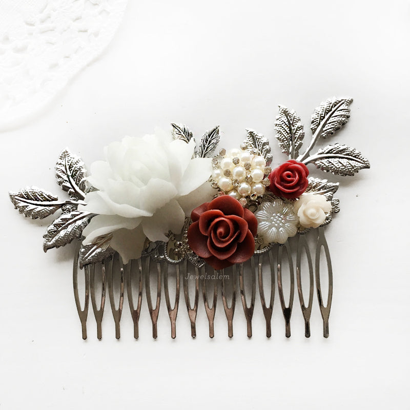 Delilah - Burgundy Red Wedding Hair Comb - Jewelsalem