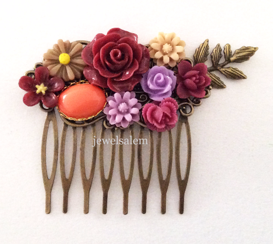 Burgundy Wedding Hair Accessories Bridal Comb Purple Maroon Red Brown Wine Coral Orange Floral Headpiece Autumn Collage Woodland Rustic WR - Jewelsalem