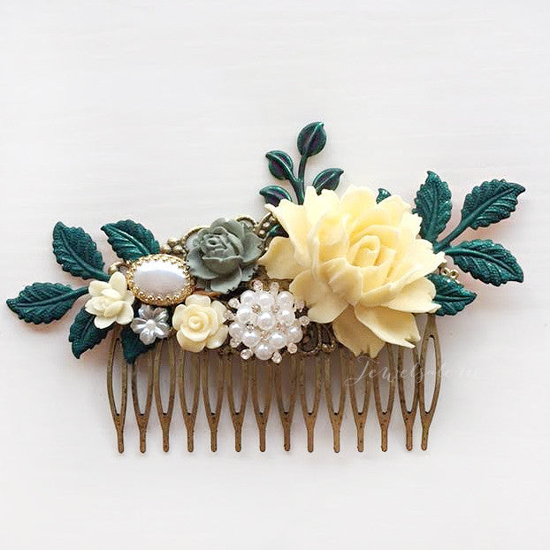 Alyssum - Buttercup Yellow Sage Ivy Green Wedding Hair Comb