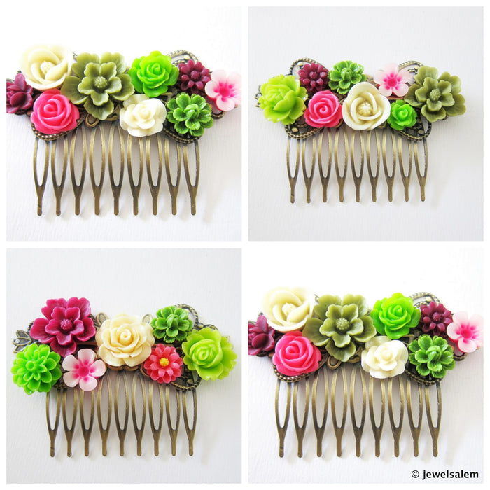 Chatreuse Wedding Hair Combs Set with Pink Wine Red Flowers Spring Summer Bridal Hair Accessories - Jewelsalem