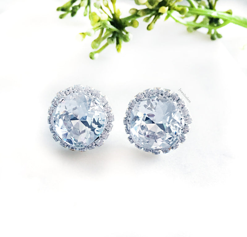 Delovely - Silver Swarovski Crystal Earrings Wedding Jewellery